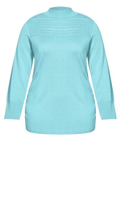 Ruched Mock Neck Sweater - aqua