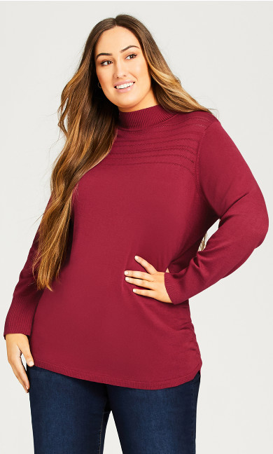 Plus Size Ruched Mock Neck Sweater - sangria