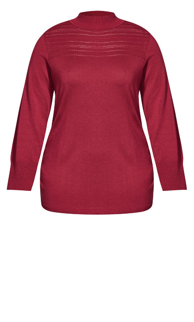 Ruched Mock Neck Sweater - sangria