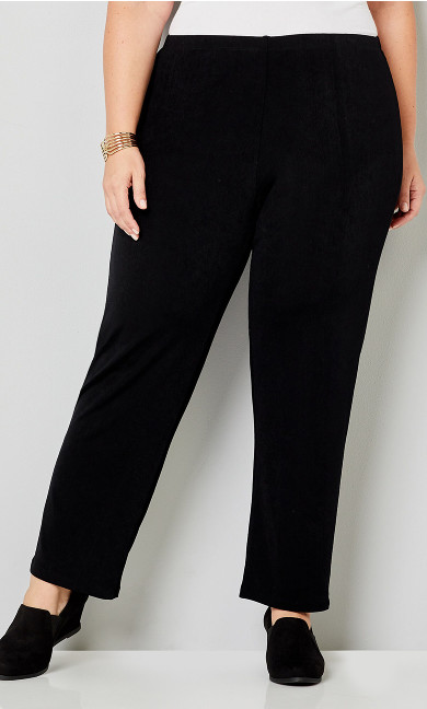 Mini Rib Pull On Pant Black - average