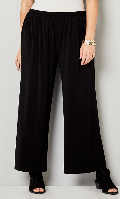 Wide Leg Pull On Pant Black - average