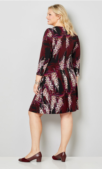 Sonoma Floral Wrap Dress - burgundy