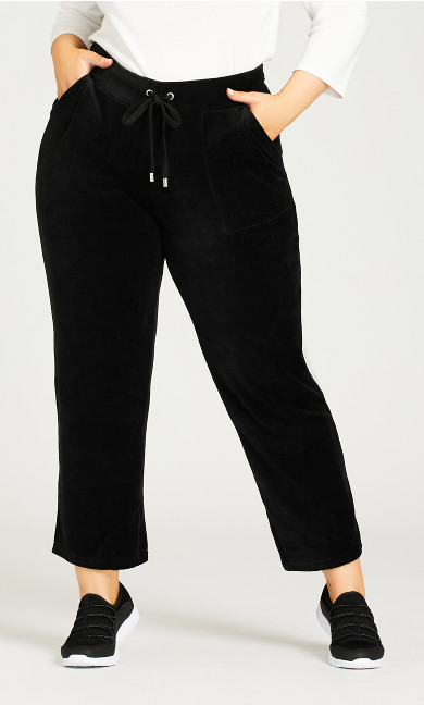 Rhinestone Toggle Velour Pant Black - average