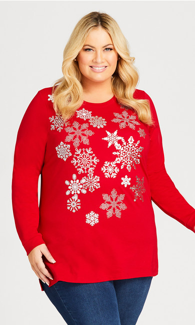 Plus Size Snowflakes Sequin Pullover - sangria