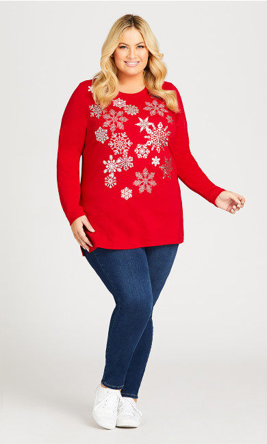Snowflakes Sequin Pullover - sangria