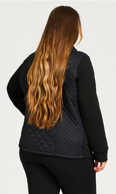 Quilted Zipper Jacket - black