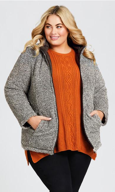 Plus Size Quilted Fleece Reversible Jacket - black