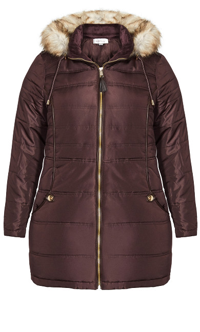 Faux Leather Trim Puffer Jacket - brown