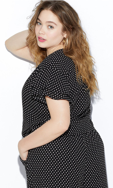 Square Print Tie Front Top - black