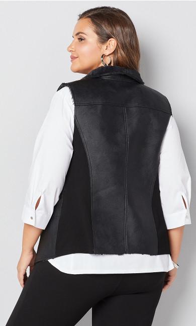 Faux Fur Open Vest - black