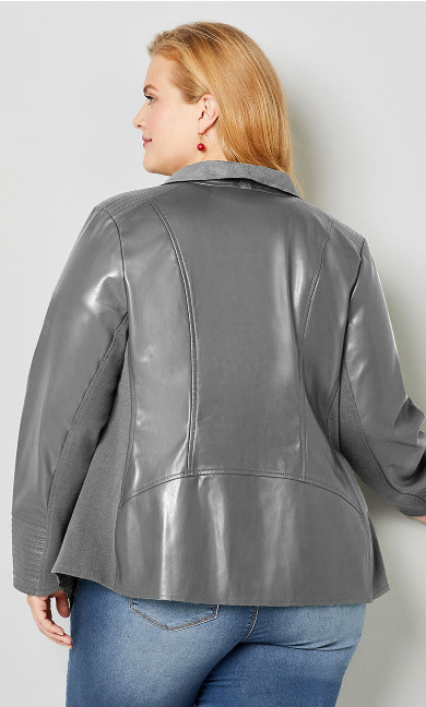 Cascade Faux Leather Jacket - gray