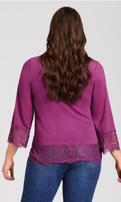 V Neck Lace Trim Top - purple
