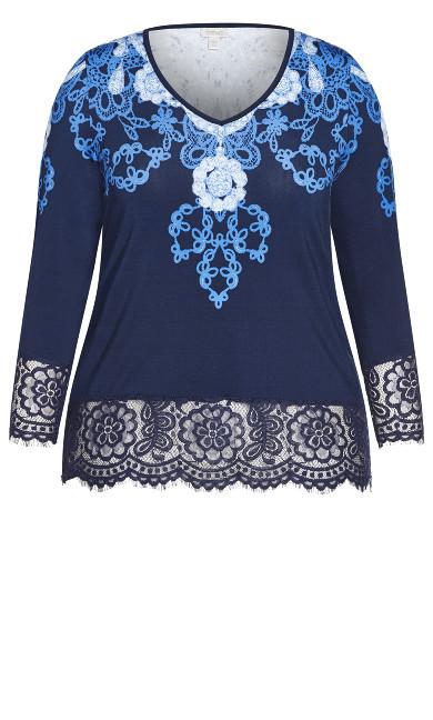 V Neck Lace Trim Top - blue