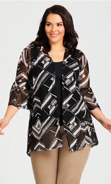 Plus Size Stripe Drop Needle Kimono - black