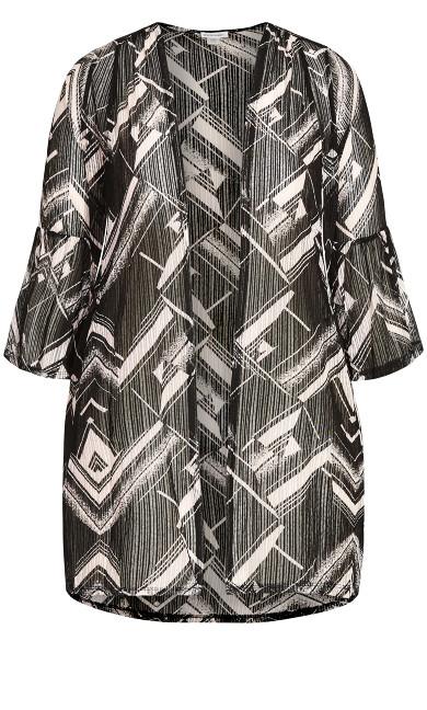 Stripe Drop Needle Kimono - black