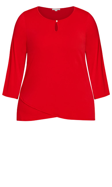 Crossover Hem 3/4 Sleeve Top - red