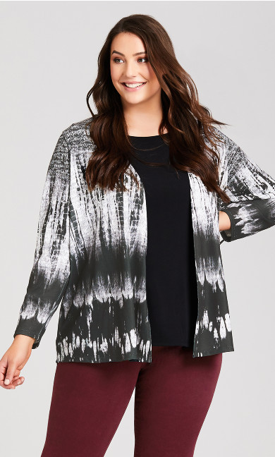 Plus Size Black White Brushstroke Cardigan - grey