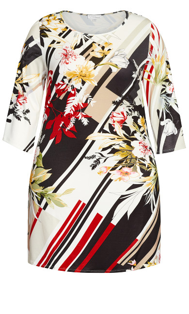 Floral A-Line 3/4 Sleeve Dress - ivory floral
