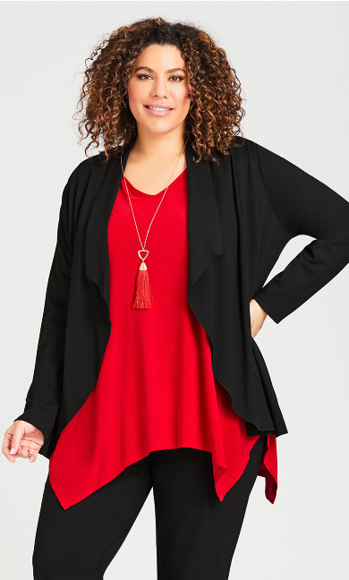 Plus Size Ponte Drape Cardigan - black
