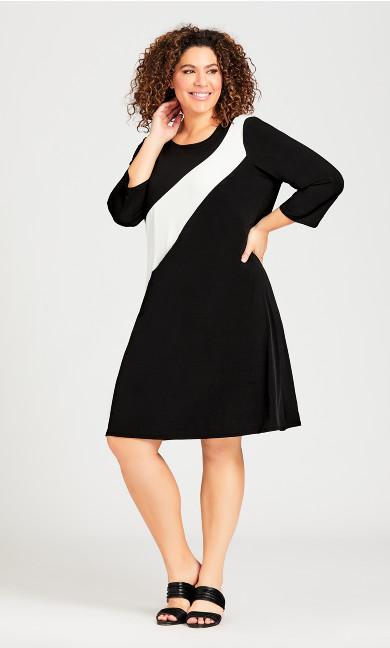 Plus Size 3/4 Sleeve Colorblock Dress - black