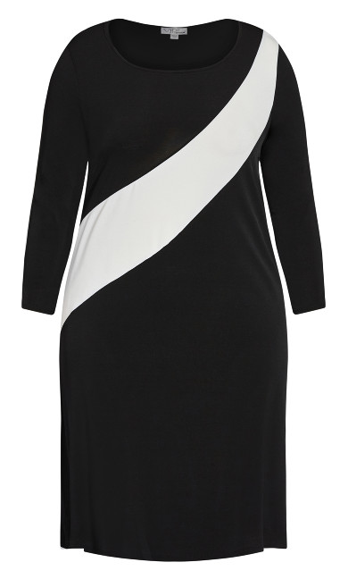 Color Block 3/4 Sleeve Dress - black