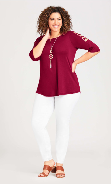 Crossover Caged Sleeve Top - cherry