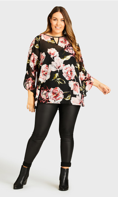 Gold Foil Floral Top - black
