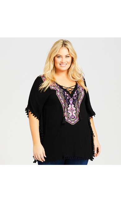 Plus Size Marbella Kaftan - black
