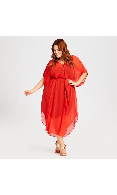 Plus Size Summer Love Kaftan - tangelo