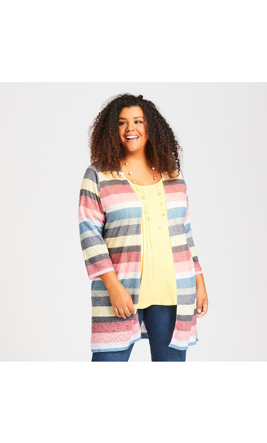 Plus Size Rainbow Stripe Duster - deep