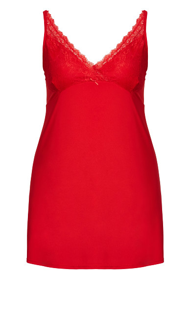 Lace Trim Chemise - red