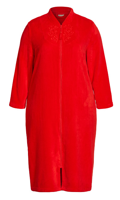 Embroidered Zip Robe - red