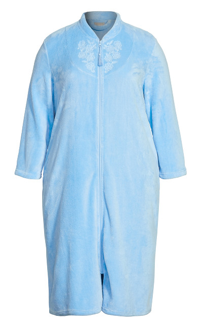 Embroidered Zip Robe -  blue