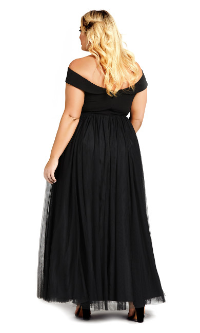 Rippled Tulle Maxi Dress - onyx