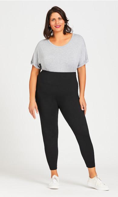 Plus Size Pima Cotton High Rise Legging - black