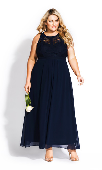 Panelled Bodice Maxi Dress - navy