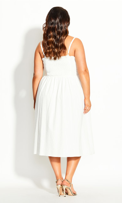 Scallop Button Dress - ivory