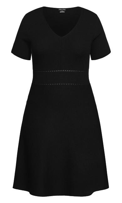 Texture V Neck Dress - black