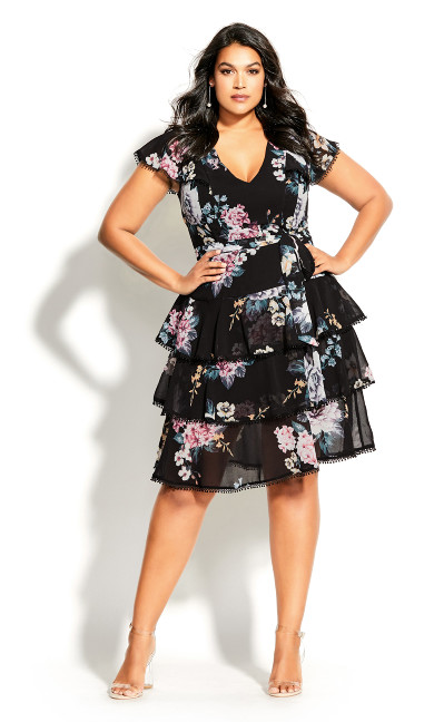 Summer Blooms Dress - black