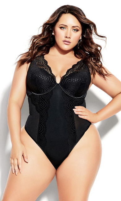 Brooke Underwire Bodysuit - black