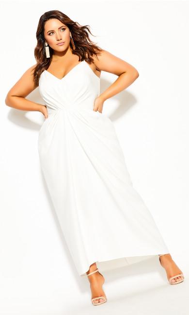 Plus Size Sassy Luciana Maxi Dress - ivory