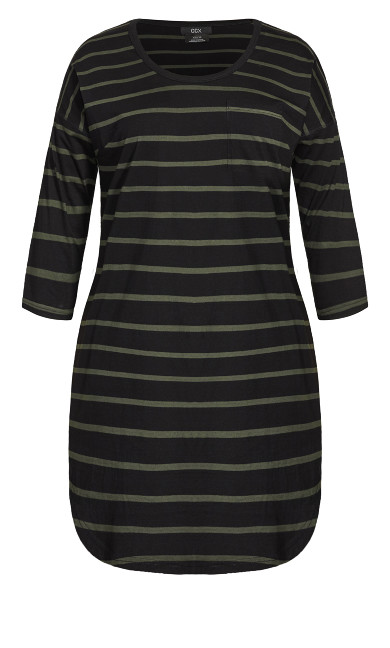 Simple Stripe Dress - khaki