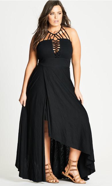 Plus Size Plait Detail Maxi Dress - black