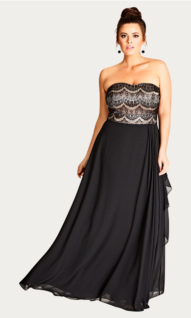 Women's Plus Size Eyelash Ebony Maxi Dress