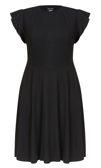 Frill Shoulder Dress - black