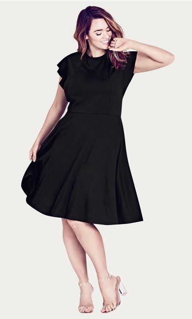 Women's Plus Size Black Frill Shoulder Dress