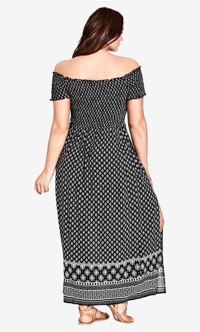 Printed Off Shoulder Smock Maxi Dress