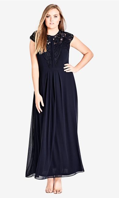 Women's Plus Size Lace Bodice Maxi Dress - Navy