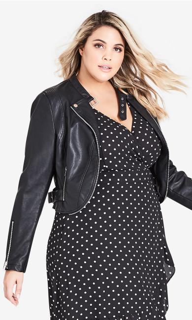 Plus Size Cropped Biker Jacket - black