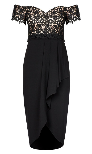 Lace Glamour Maxi Dress - black